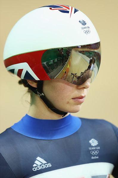 Rebecca James of Great Britain comptes in the Womens' Keirin First Round on Day…