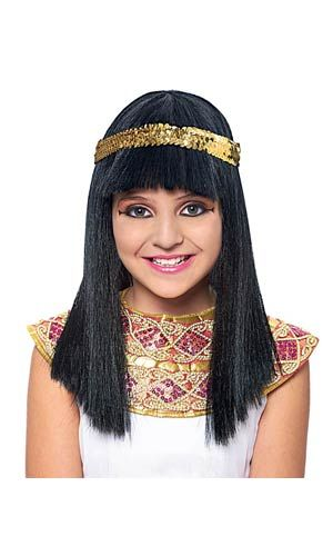 Girls Black Cleopatra Wig