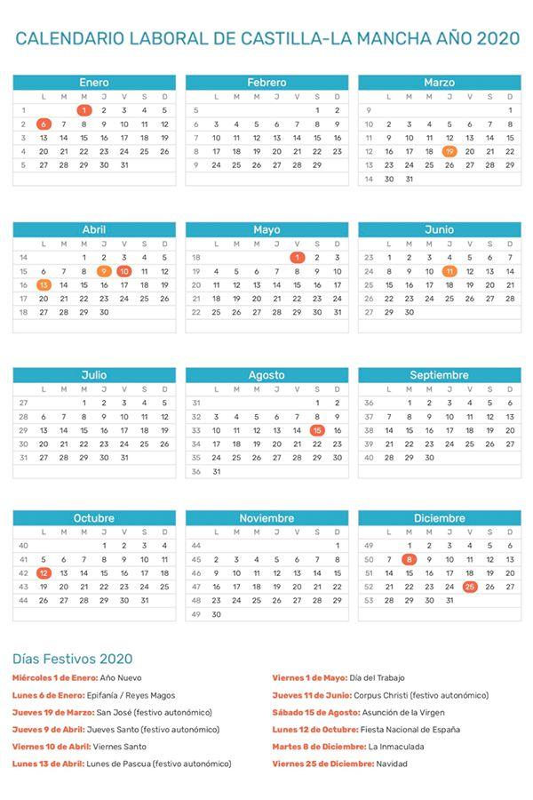 Calendario De Castilla La Mancha Año 2020 Calendario Mancha Calendario Para Imprimir