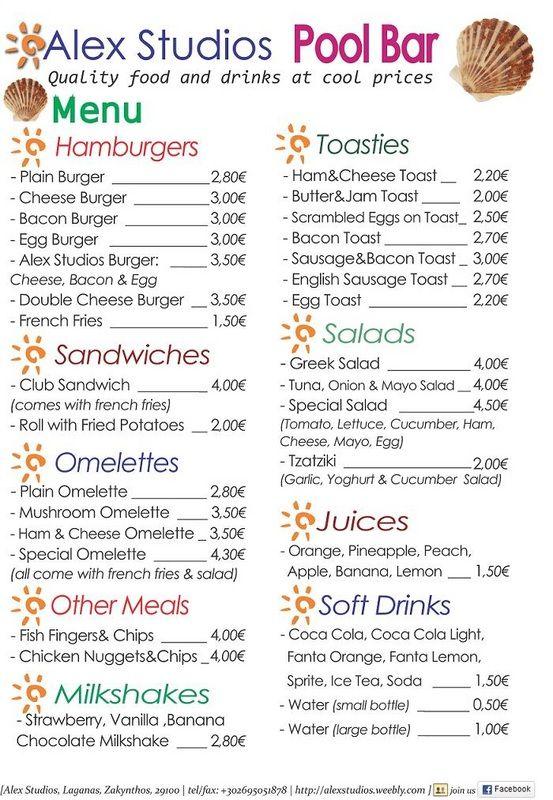 menu lijst