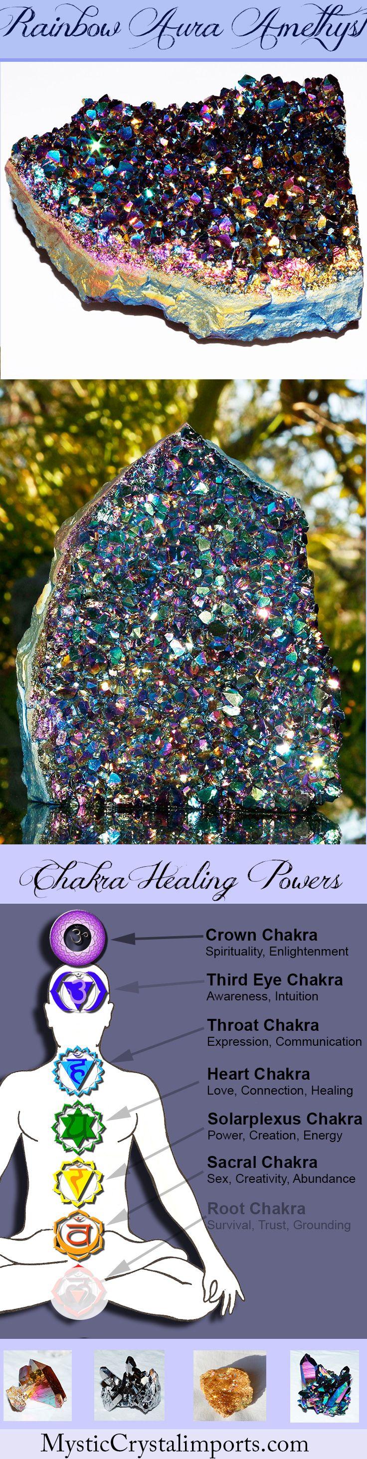 "4 1/2"" Tall Rainbow Aura Amethyst Quartz Standing Geode Cluster"