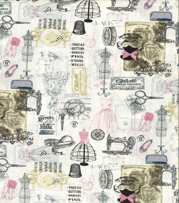 Novelty Cotton Fabric Sewing Symbols Fabric Finds With