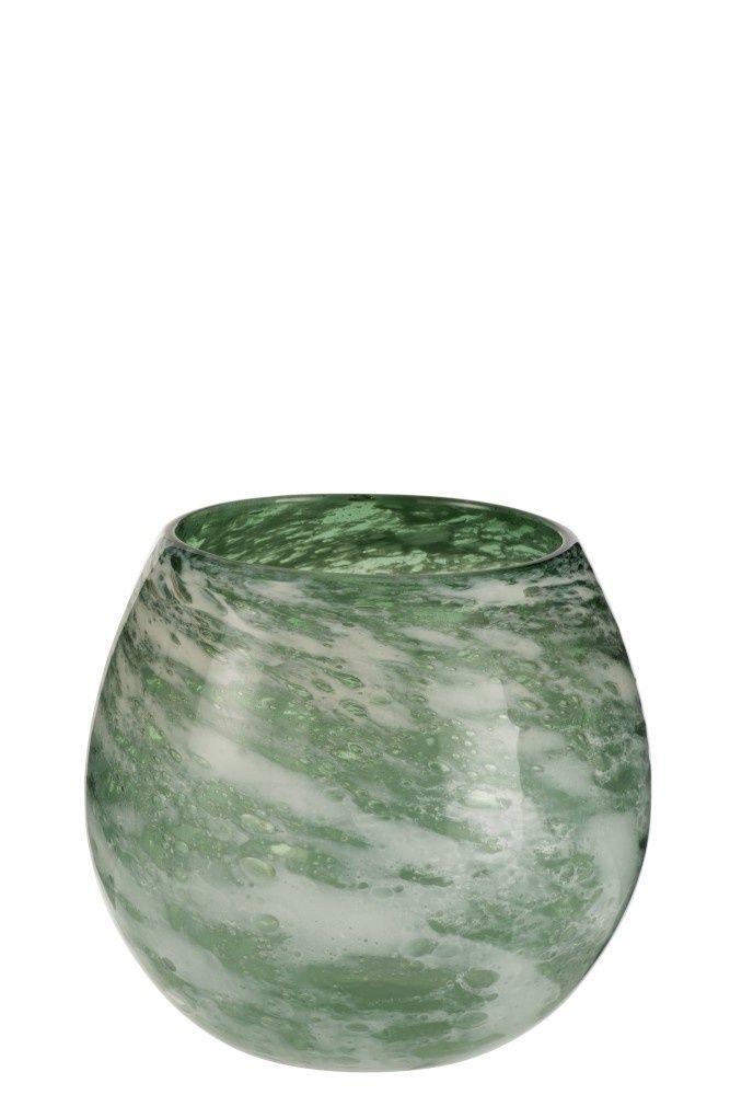 J Line Vaas Rond Glas Groen Wit Large Rond Glas Glas Vaas