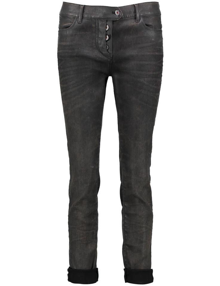Hanna Broek pantalon Taifun bruin lichtjes gevlamde print vintage 5-pocket