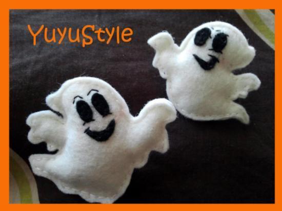 broche halloween fantasmas fieltro cosido
