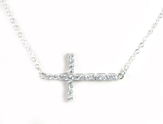 47 best sideways cross necklaces images on pinterest sideways cz sideways cross necklace simulated diamond cross by gemsinvogue aloadofball Choice Image