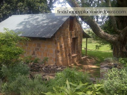 One of the other cottages surrounded by big trees at Wyford Farm in Van Reenen
