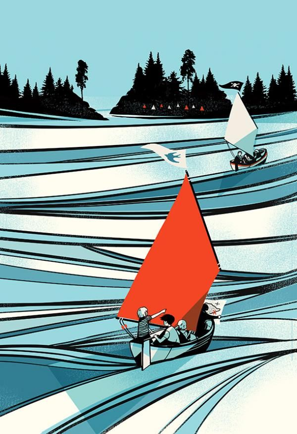 Cover for Swallows and Amazons by Arthur Ransome, designed by 2013 V&A Book Cover Illustration Winner Pietari Posti l Victoria and Albert Museum #art #illustration
