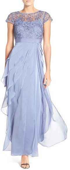 Adrianna Papell Layered Chiffon & Lace Gown
