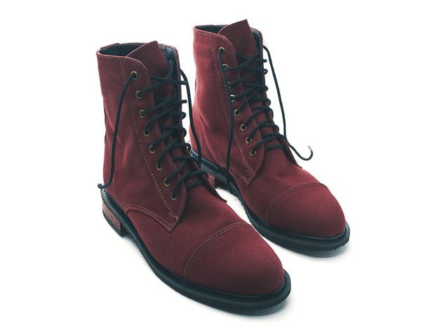 RED CANVAS SINCLAIR BOOTS - WOMENS or MENS SLIM FIT - NICORA