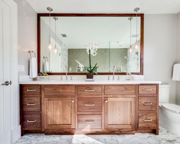 Wood vanity + wood mirror + pendant lights