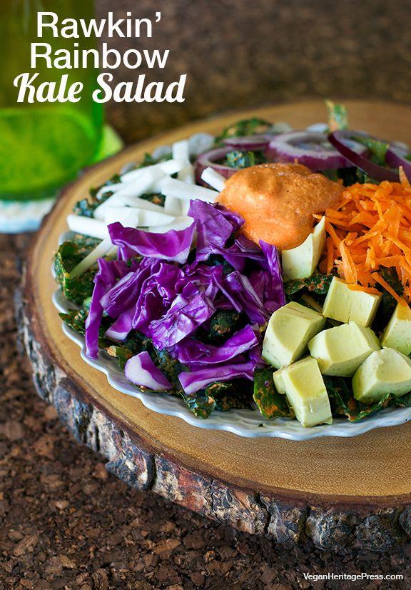 Rawkin' Rainbow Kale Salad from The Abundance Diet by Somer McCowan