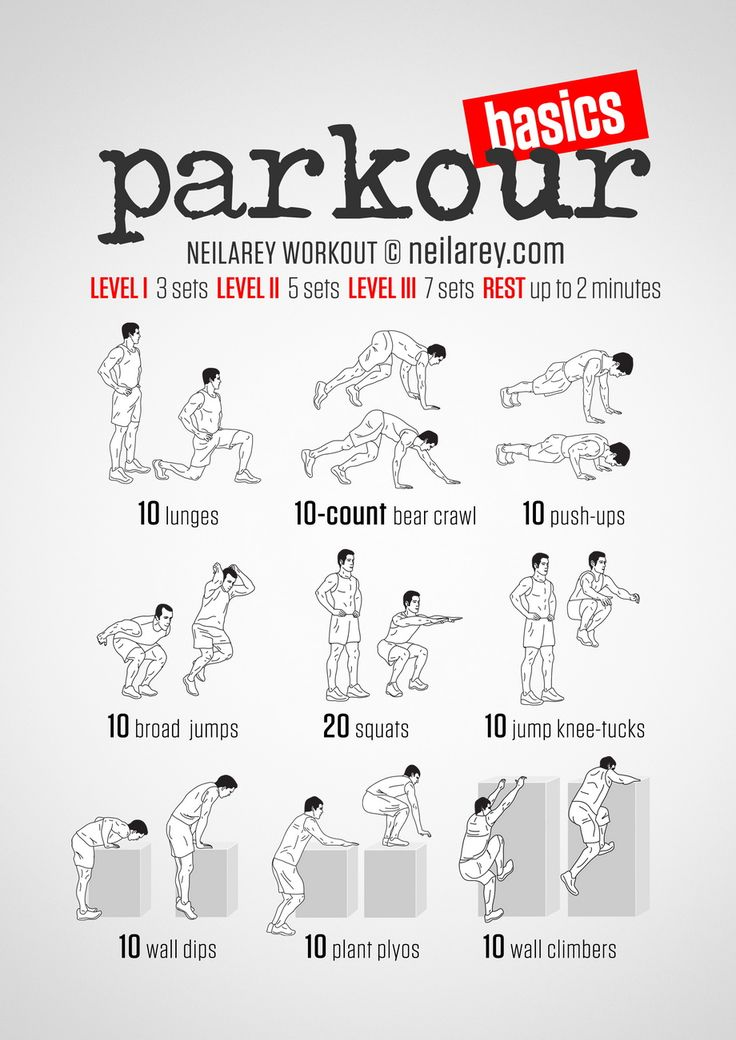 Visual workout for Parkour starters. Try this down the park and get ready to go further.