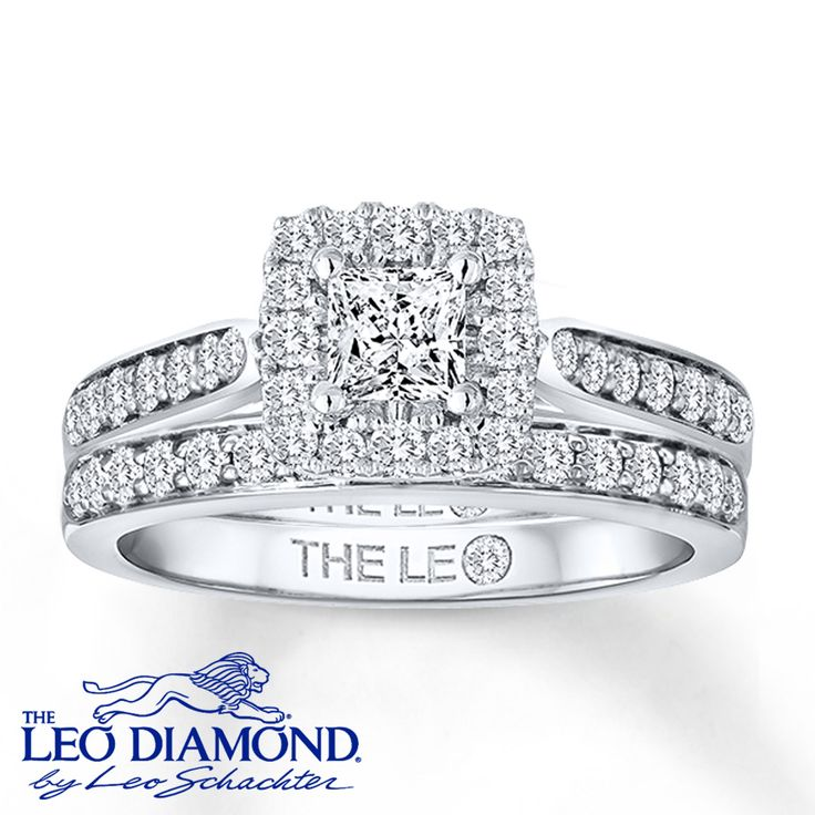 A princess-cut Leo Diamond dazzles at the center of the engagement ring in this irresistible bridal set. Round Leo Diamonds frame the center and are channel-set into the 14K white gold bands for a total diamond weight of 1 carat. The Leo Diamond® is independently certified and laser-inscribed with a unique Gemscribe® serial number. Diamond Total Carat Weight may range from .95 - 1.11 carats.