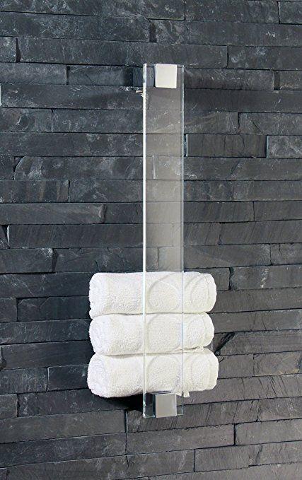 Gästetuchhalter, Handtuchhalter für Gästetücher, Wandhalter, Glas+Chrom - Made in Germany -