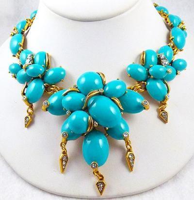 Oscar De La Renta Woman Gold-tone Cabochon And Faux Pearl Necklace Turquoise Size Oscar De La Renta J9GWhp