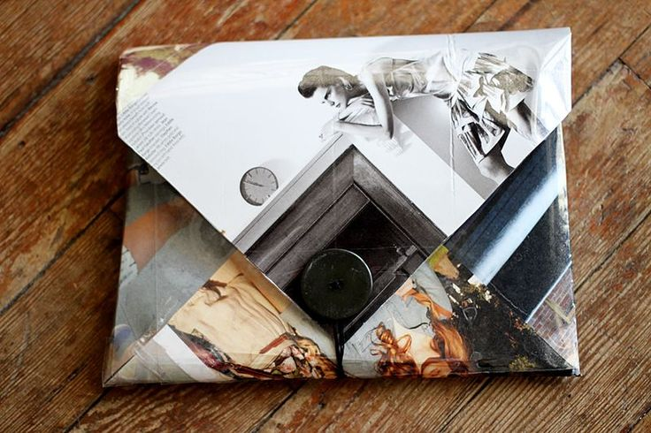 This is a cute clutch made out of magazine pages and laminating sheets.