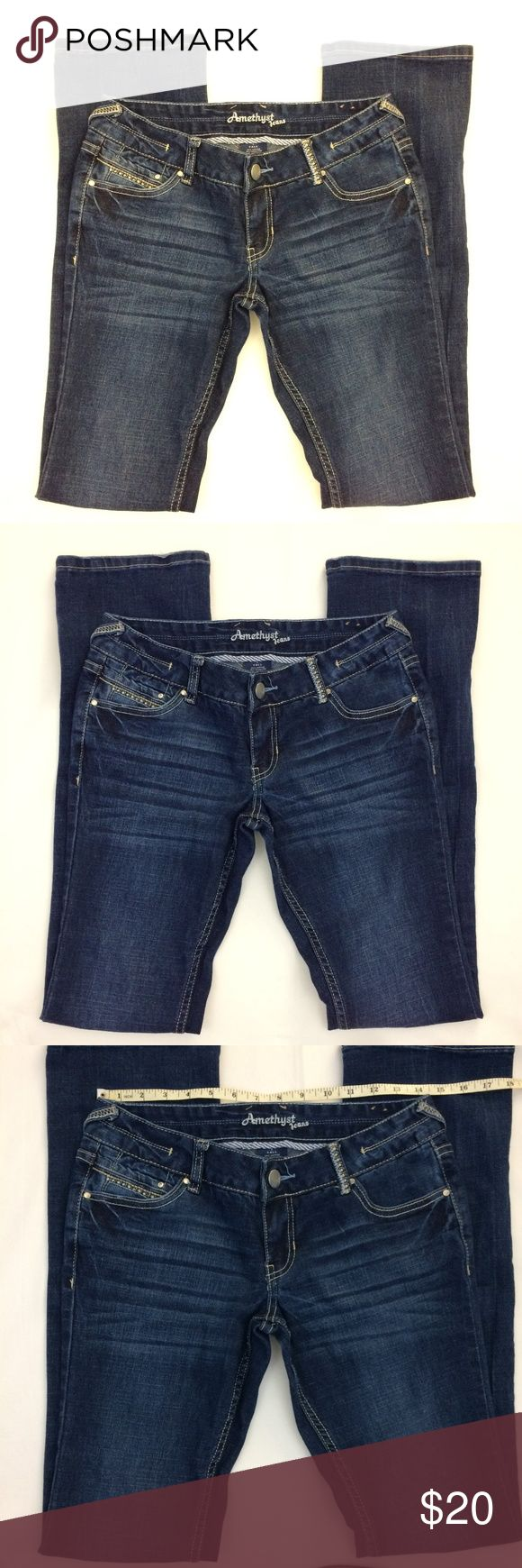 Amethyst Embelished Dark Wash Jeans Size 7 Tall Womens Embelished Dark Wash Jeans Size 7 Tall Amethyst Jeans Jeans