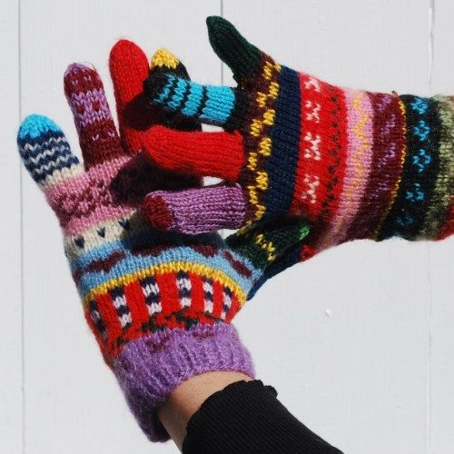 Knitted scrap yarn gloves for women