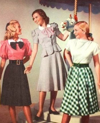 1948 Teens wearing wide belts and full skirts