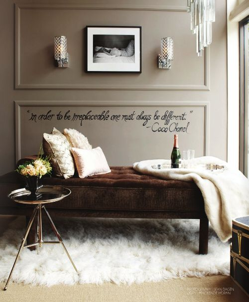 """""""in order to be irreplaceable one must always be different"""" ... Coco ChanelDecor, Wall Colors, Coco Chanel, Cabinets Colors, Wall Quotes, Fashion Blog, Painting Colors, Cocochanel, Room"""