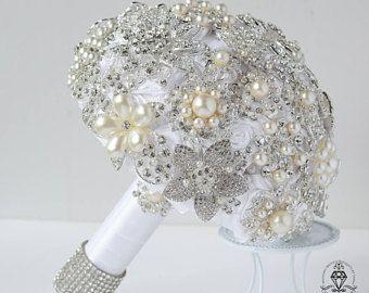 Perlas boda ramo de broche, ramo de la joyería, Rhinestone ramo, ramo blanco, ramo de cristal, ramo con broches, novia.