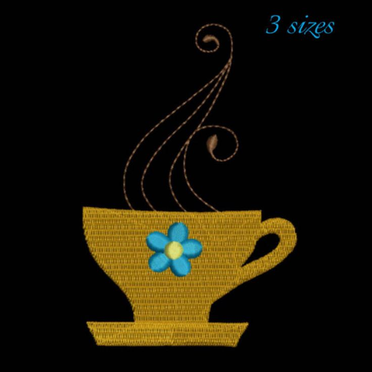 Coffee cup embroidery machine design instant digital download pattern in the hoop pes file kitchen mom cuisine by SvgEmbroideryDesign on Etsy