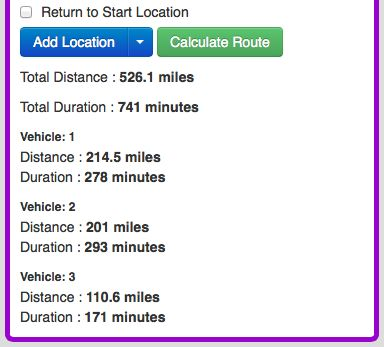 Multiple vehicles distances and durations