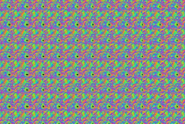 Why Can't Some People See Magic Eye Pictures?  Earlier this month, I explained how Magic Eye pictures work. A lot of people commented about how they can never see the hidden image. So what gives? Is there something wrong with these people's eyes? Are they cursed? Are there really no hidden pictures? Is this all a hoax?  Most Magic Eye problems have to do with the way the eyes work with each other and the brain.