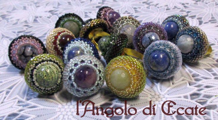 Anelli artigianali con perle in PIETRE DURE