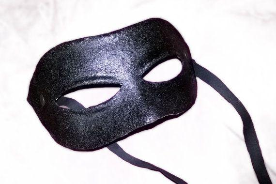Columbina neutral mask black leather costume by MaschereFabula