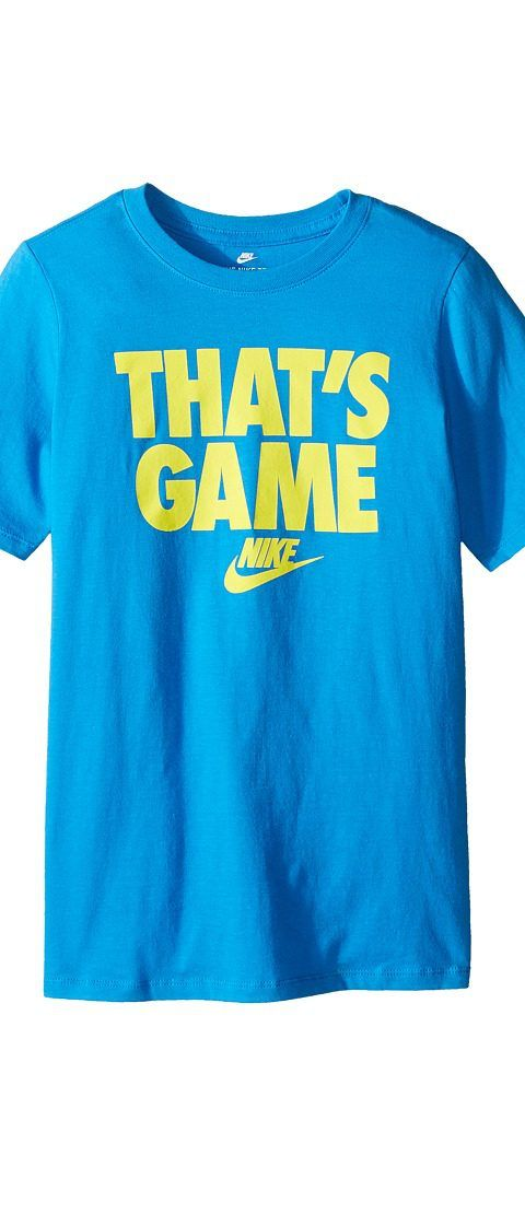 Nike Kids Sportswear That's Game T-Shirt (Little Kids/Big Kids) (Light Photo Blue/Electrolime) Boy's T Shirt - Nike Kids, Sportswear That's Game T-Shirt (Little Kids/Big Kids), 837987-435, Apparel Top Shirt, T Shirt, Top, Apparel, Clothes Clothing, Gift, - Street Fashion And Style Ideas