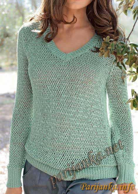 Ажурный пуловер (ж) 25*161 Bergere de France №2602