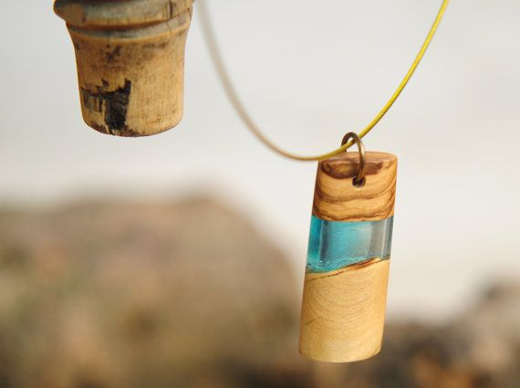Greek Island Light Blue Olive Wood Necklace Unique by MavouShop