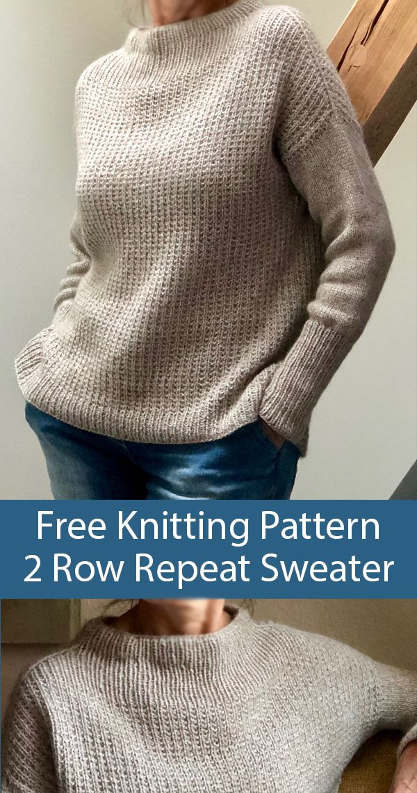 Free Knitting Pattern for 2 Row Repeat Sixty Years Sweater