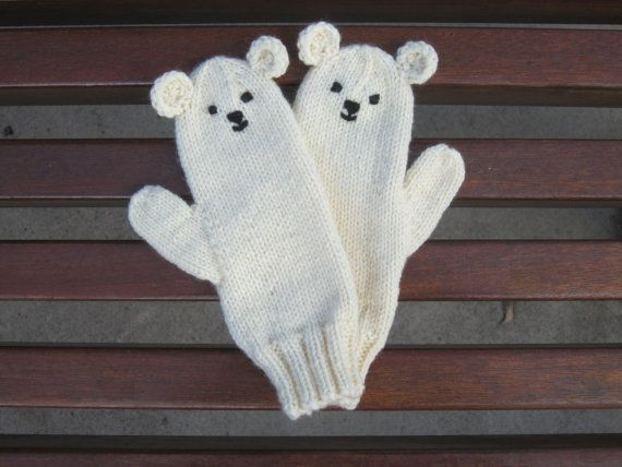 Polar bear mittens soft pure wool childrens by HotScones on Etsy, $34.00