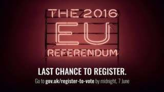 EU referendum: Midnight deadline to register to vote. People have until 23:59 BST on Tuesday 7 June to register to be able to vote in the referendum on whether the UK stays in the European Union or leaves. Registering online should take about five minutes. People may need their National Insurance number, or passport number if a UK citizen living abroad. In Northern Ireland, people have to download and return a form to register. #Brexit #EUReferendum #EU #Europe #Britain #British #England #UK