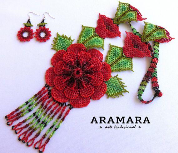 Huichol red flowers necklace and earrings set by Aramara on Etsy (www.etsy.com/uk/people/Aramara)