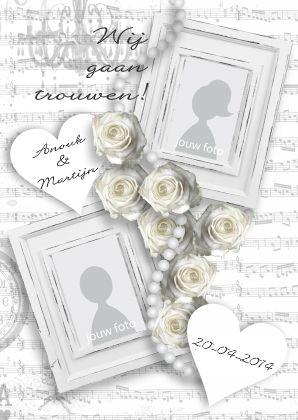 Trouwkaart White Vintage - Trouwkaarten - Kaartje2go