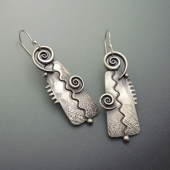 Funky, big, bold and fun texture sterling silver earrings with zigzag patterns, elegant twirls and silver beads. Made with sterling silver PMC.
