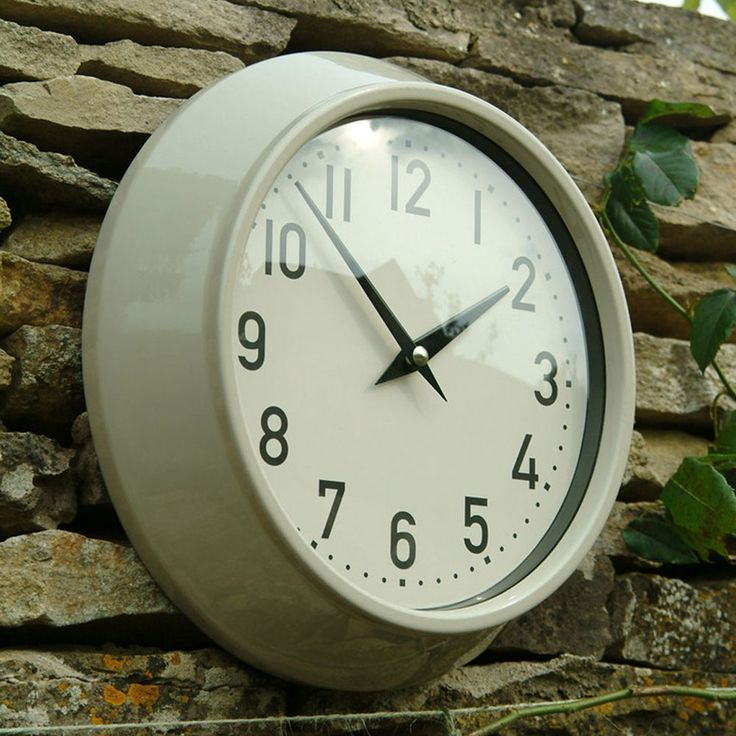 Large Metal Outdoor Clock - Clay