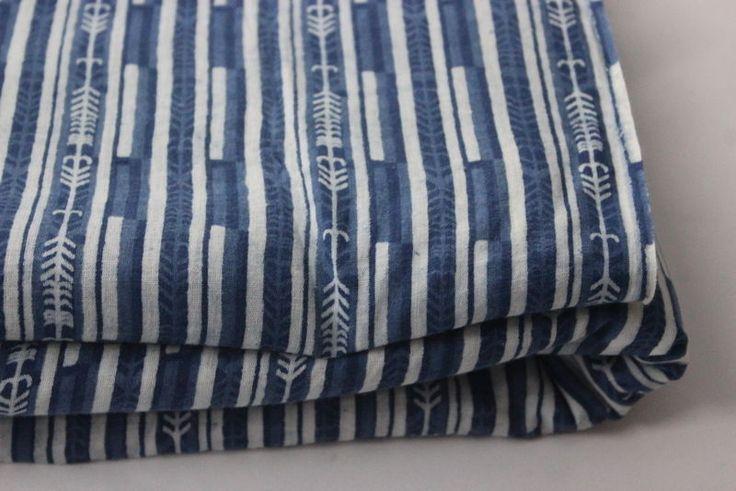100% Cotton Block Line Print Fabric Indigo Blue handmade, Dress fabric 5 yard #KhushiHandicraft