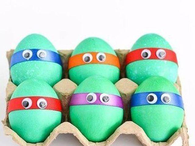 Пасхальные яйца в виде черепашек ниндзя