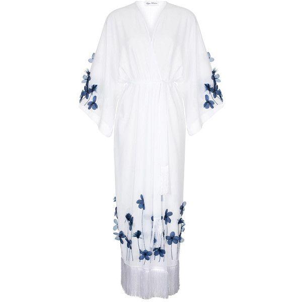 Wisdom Fringe Hem Draped Sleeve Robe ($950) ❤ liked on Polyvore featuring intimates, robes, kimono dressing gown, floral bathrobe, floral print kimono, flower print kimono and robe kimono