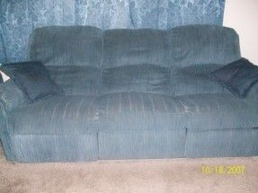 Furniture - Reclining sofa, loveseat, and rocker. Blue. Good condition. $400 OBO. Cal... #ReferLocal