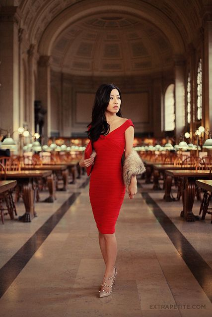 asos red dress boston public library2 by PetiteAsianGirl, via Flickr