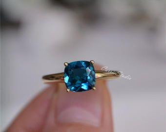 Londres topacio anillo topacio anillo de Halo en 14k oro rosa