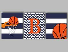 Baby Boy Nursery Art Boys Room Sports Art Basketball Art for Boys Basketball Print Boys Monogram - Choose Colors - 3 8 x 10 Prints on Etsy, $36.00