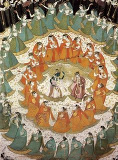 vintageindianclothing:  Rasamandala aka the circle dance of Krishna and the gopis. Jaipur, 1750. Note the full skirts and voluminous upper drape of the 18th century  A fuller version of the painting here.  Pic Source.