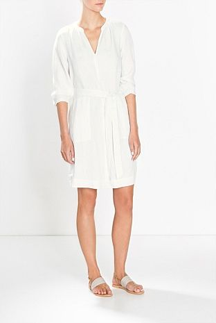 Gathered Neck Linen Dress